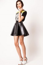 BELOVED Skater Skirt in Leather Finish, 2,200 INR